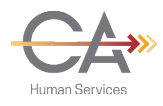Commonwealth Autisme Services Logo featuring the letters C-A with an arrow through them and human services underneath