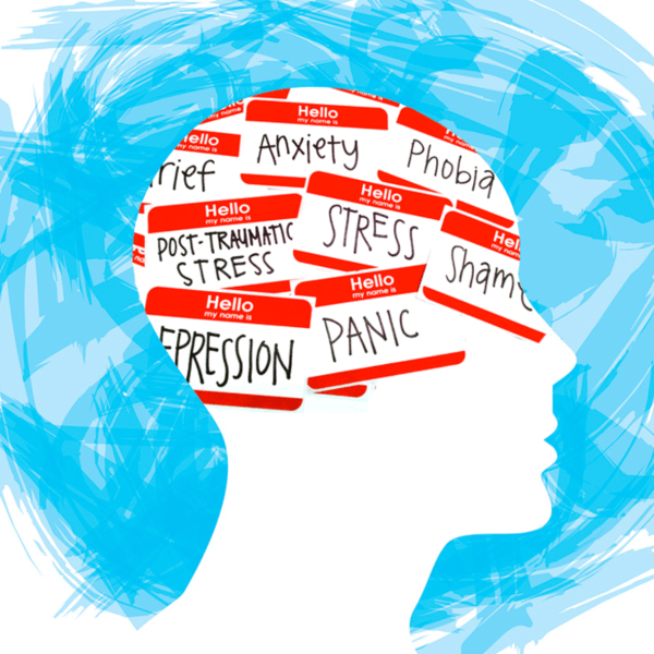 Illustration of head with red and white name tags that read panic, stress, anxiety, shame, depression, and phobia.