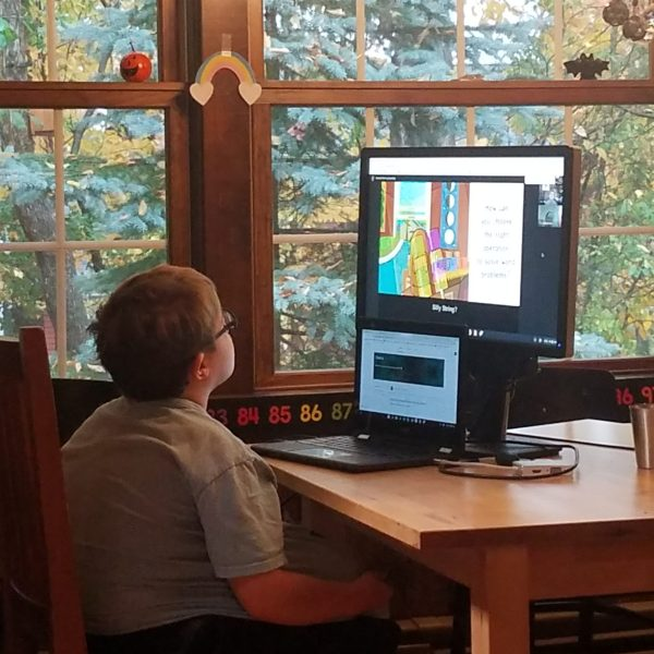 Boy sitting at home on computer screen during distance learning.