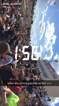 Students evacuate the school at the beginning of tenth period. Blake Jarosinski captures the moment in a picture when everyone has been moved and settles into the football stadium.