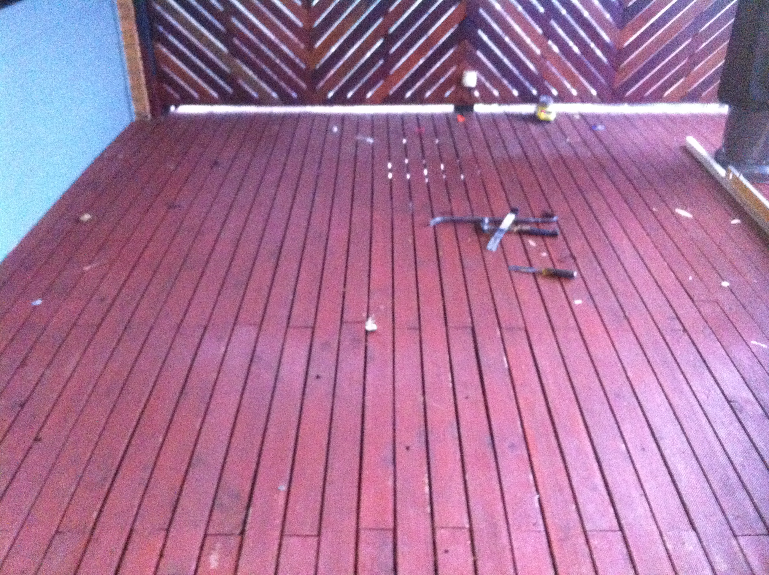 Decking boards badly joined in the same spot