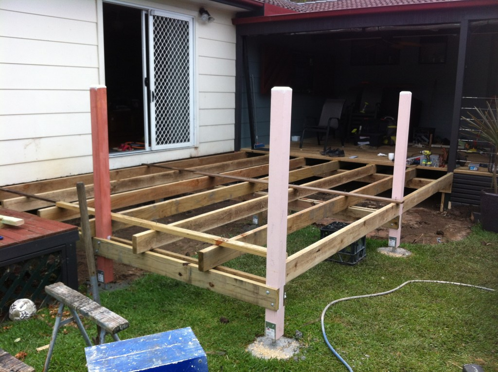 new deck bearers & joist construction, ready for boards