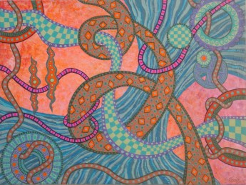 pink knots painting cropped