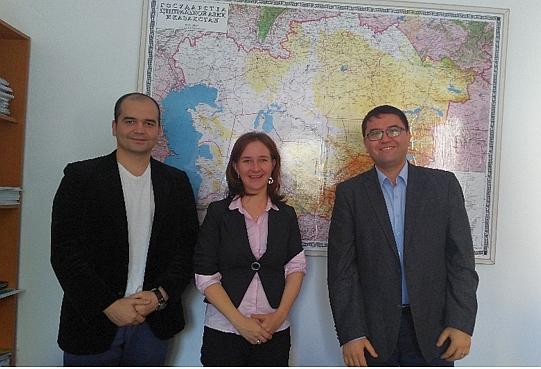 Left to right: Mr. Sarvarbek Eltazarov (GIS/RS Consultant, IWMI); Dr. Barbara Janusz-Pawletta (German-Kazakh University [GKU]); and Mr. Oyture Anarbekov (Senior Research Officer, IWMI) (Photo: Bekzat Anarbekov)
