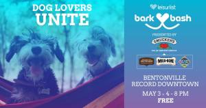 Bark Bash Bentonville flyer two smiling dogs