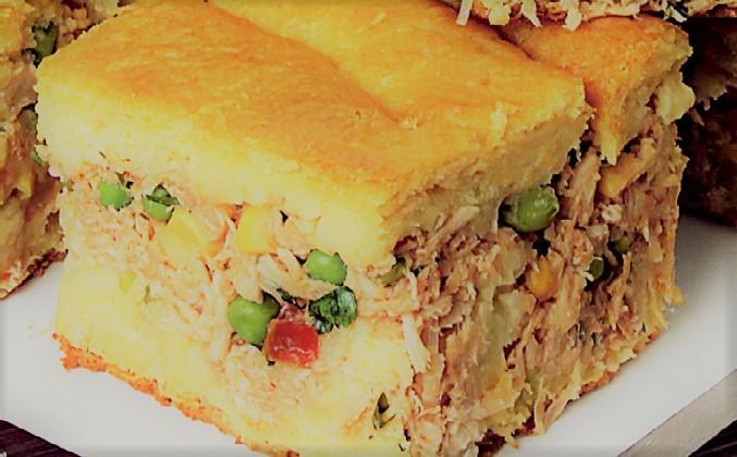 Torta de Frango com milho e ervilhas