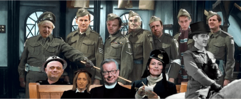 The battle against Covid increasingly resembles a rather bizarre episode of Dad's Army mocking the idea of British genius and resolve.