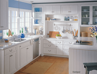 Central white cabinets