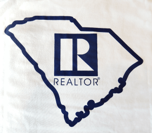 REALTOR® White Shirt For Sale, shows state outline and REALTOR® Logo