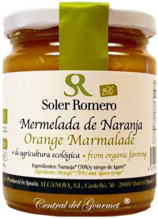 Mermelada de Naranja Bio Ecológica, Soler Romero, sin azucar, con sirope de Ágave, tarro 275 gr