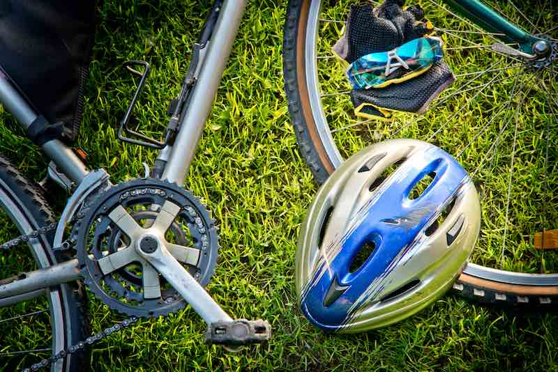 bicycle helmet placed on a bicycle
