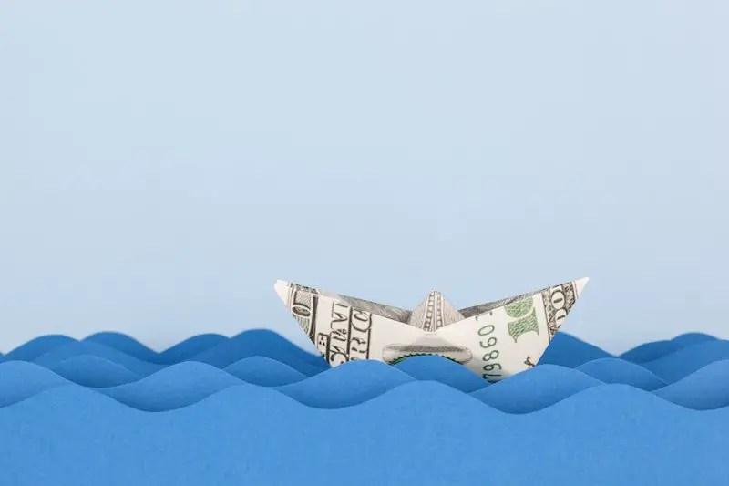 Boat made of a hundred dollar bill