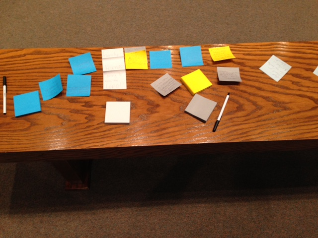 Prayer altar with thanksgiving sticky notes