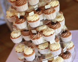 Stack of decorated cupcakes