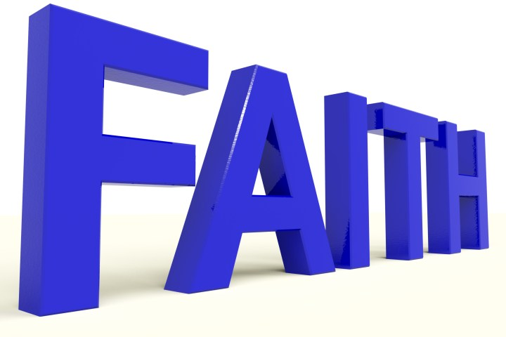Faith Word Showing Spiritual Belief Or Trusting