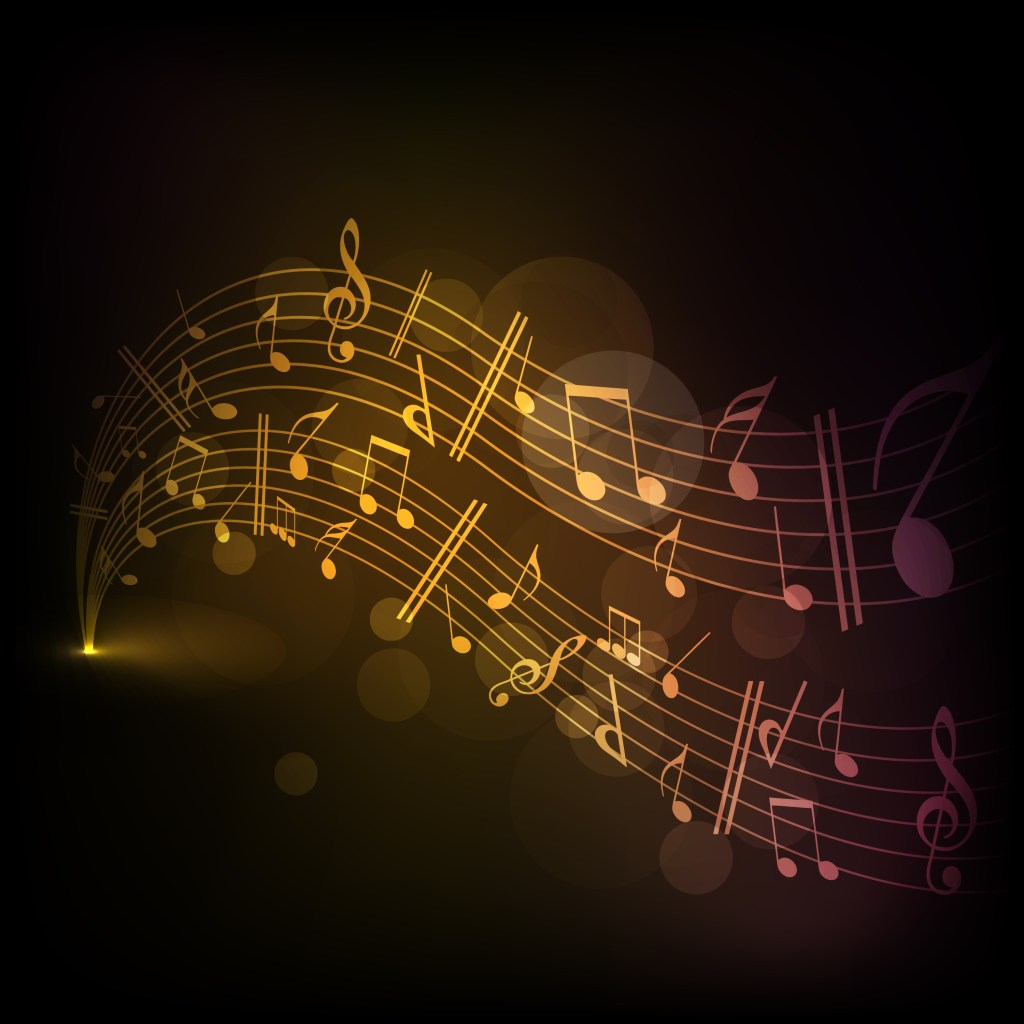 Musical notes on shiny, gold background
