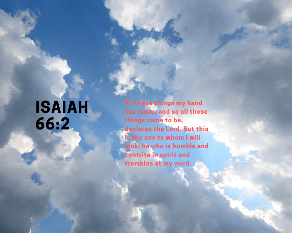 Isaiah 66:2 on a cloud background