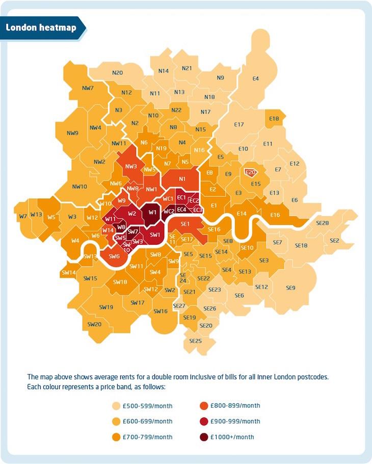 Rent In London london heatmap