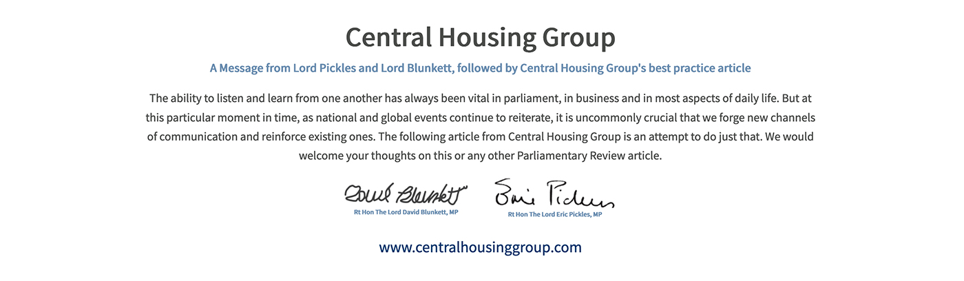 The Parliamentary Review Footnote Central Housing Group