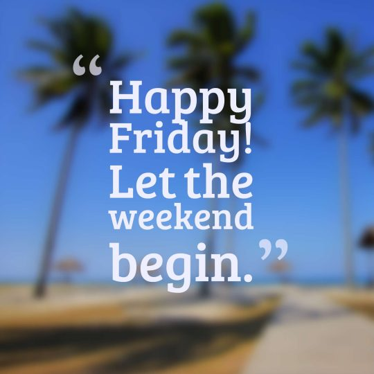 Happy Friday! Let the weekend begin.