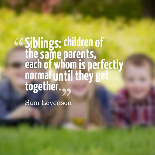 Siblings children of the same parents, each of whom is perfectly normal until they get together.