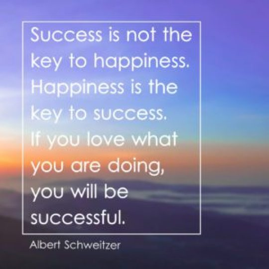 Success is not the key to happiness. Happiness is the key to success. If you love what you are doing, you will be successful.
