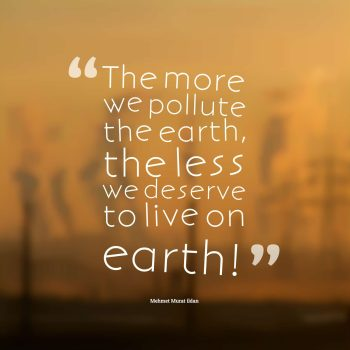 The more we pollute the earth, the less we deserve to live on earth!