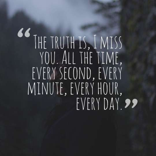 The truth is, I miss you. All the time, every second, every minute, every hour, every day.