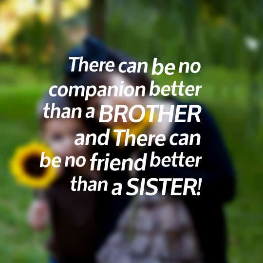 There can be no companion better than a BROTHER and There can be no friend better than a SISTER!