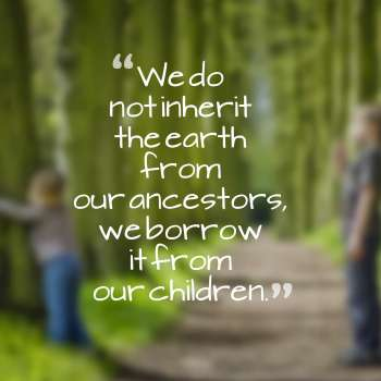 We do not inherit the earth from our ancestors, we borrow it from our children.