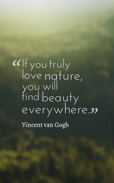 If you truly love nature, you will find beauty everywhere.