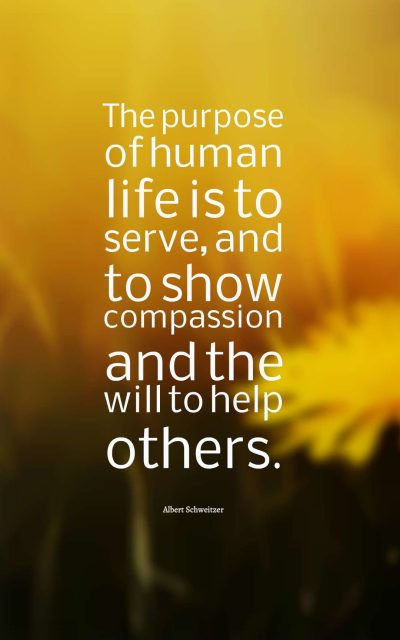 The purpose of human life is to serve, and to show compassion and the will to help others.