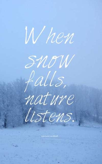 When snow falls, nature listens.