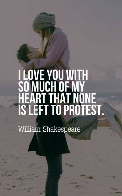 I love you with so much of my heart that none is left to protest.