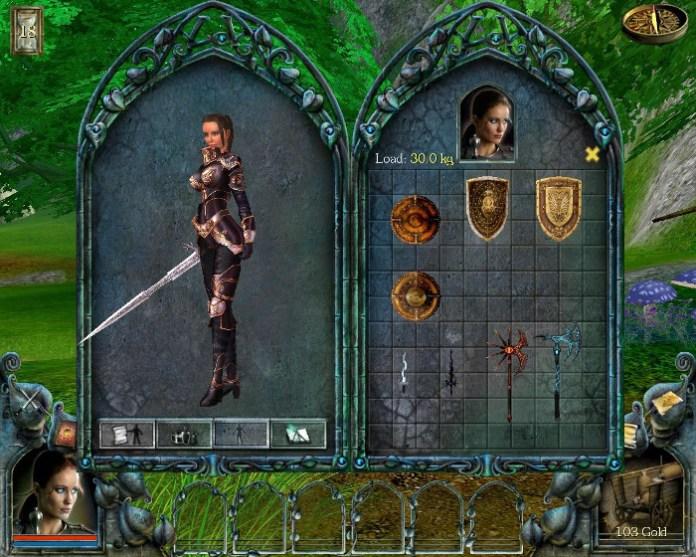 Tela de equipamentos de Vivien em Gods: Lands Of Infinity - Special Edition