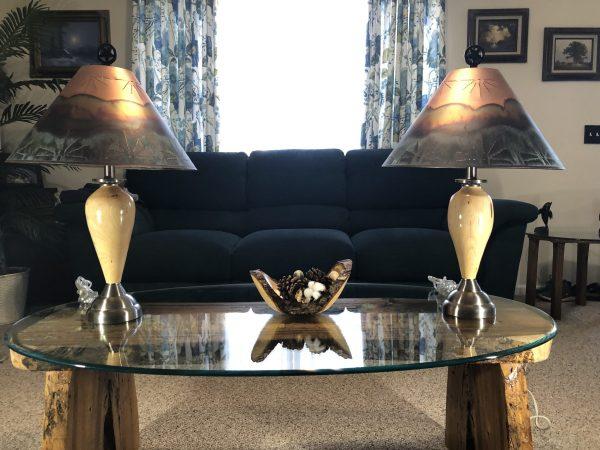 cedar elm wood table lamp