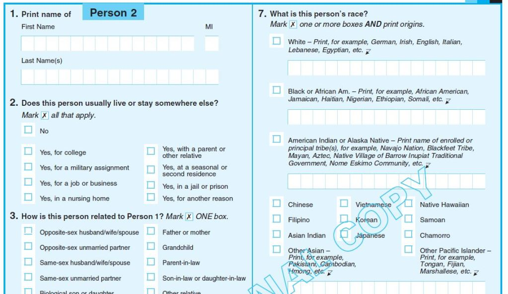 2020 Census Sample Questionnaire Download