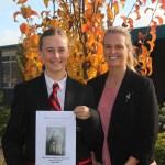 Sophie Baker awarded Premier's ANZAC Spirit School Prize