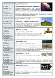 Programme des séjours (cliquez pour agrandir)