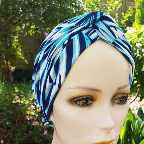 Groix GRO5, turban bandeau chimio, turquoise marine