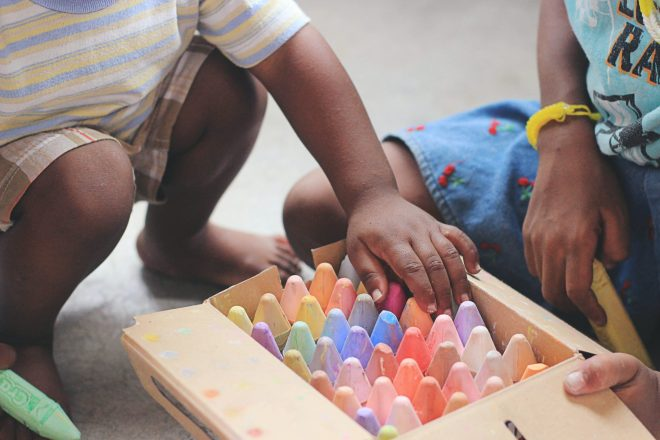 children playing chalk
