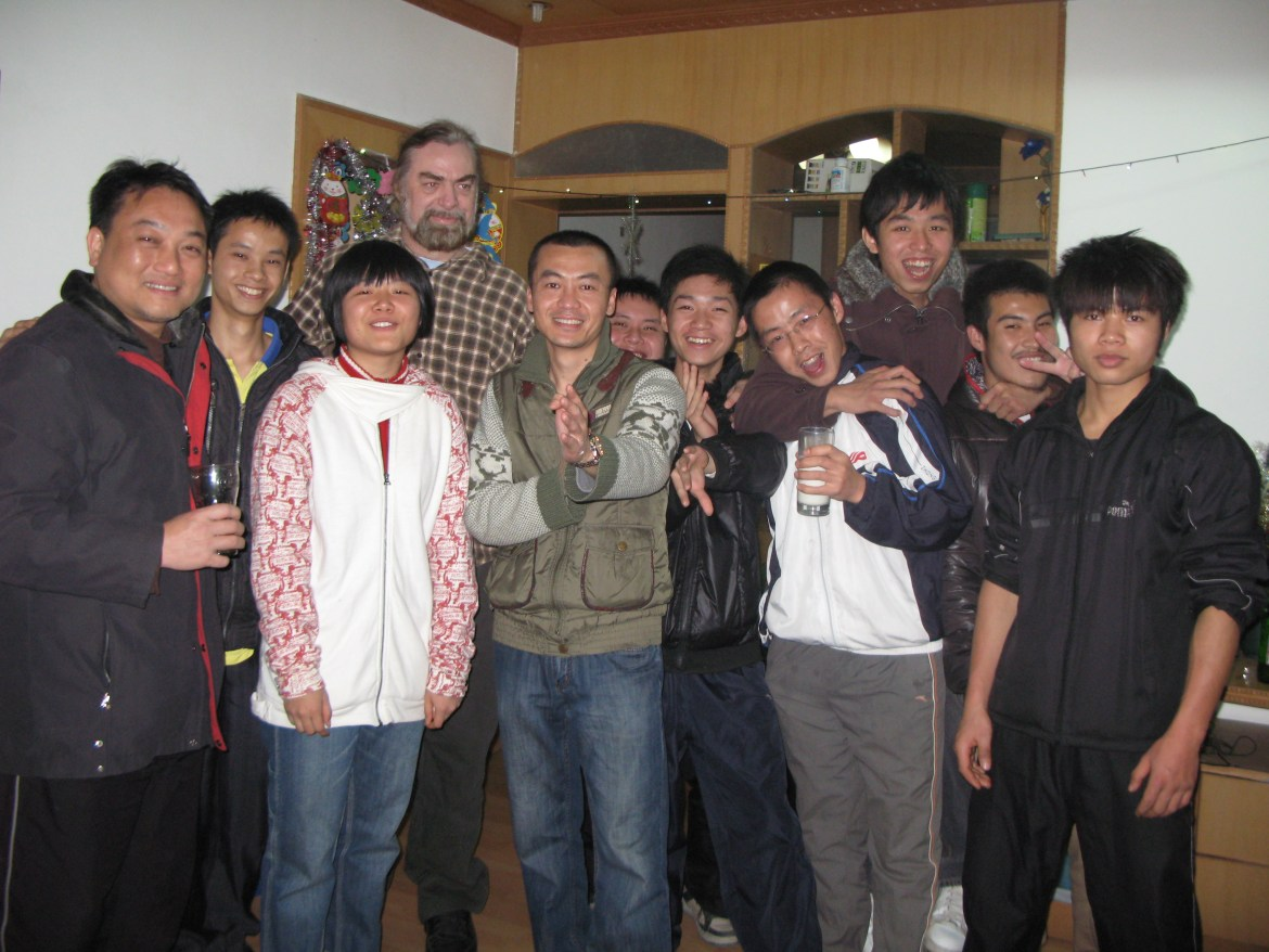 Christmas Party in China with my Chinese students, and Tai Chi Sifu.