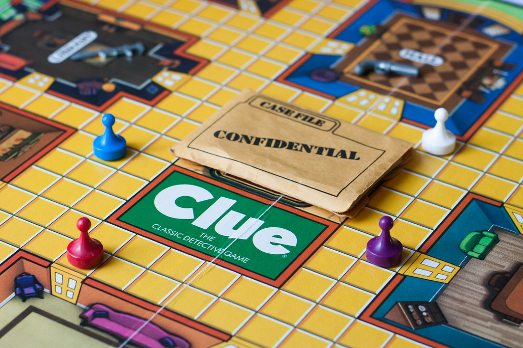 Last time my mom came to town, she brought a stack of old board games. Here's a version of Clue,