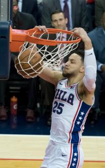 This is a photo of Ben Simmons in a game verse the Wizards