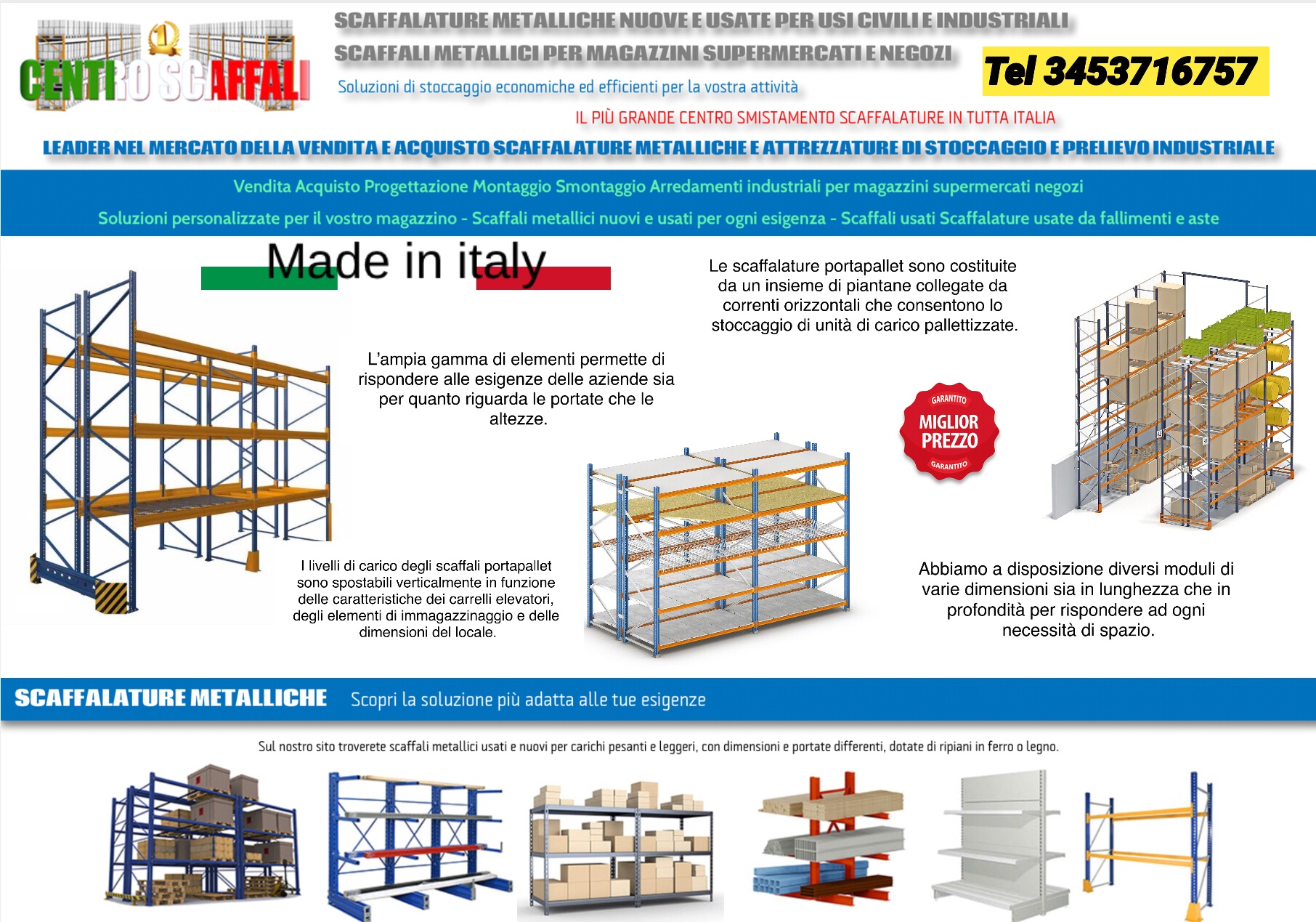 Vendita Scaffali Metallici Torino.Scaffalature Metalliche Industriali Nuove E Usate Vendita