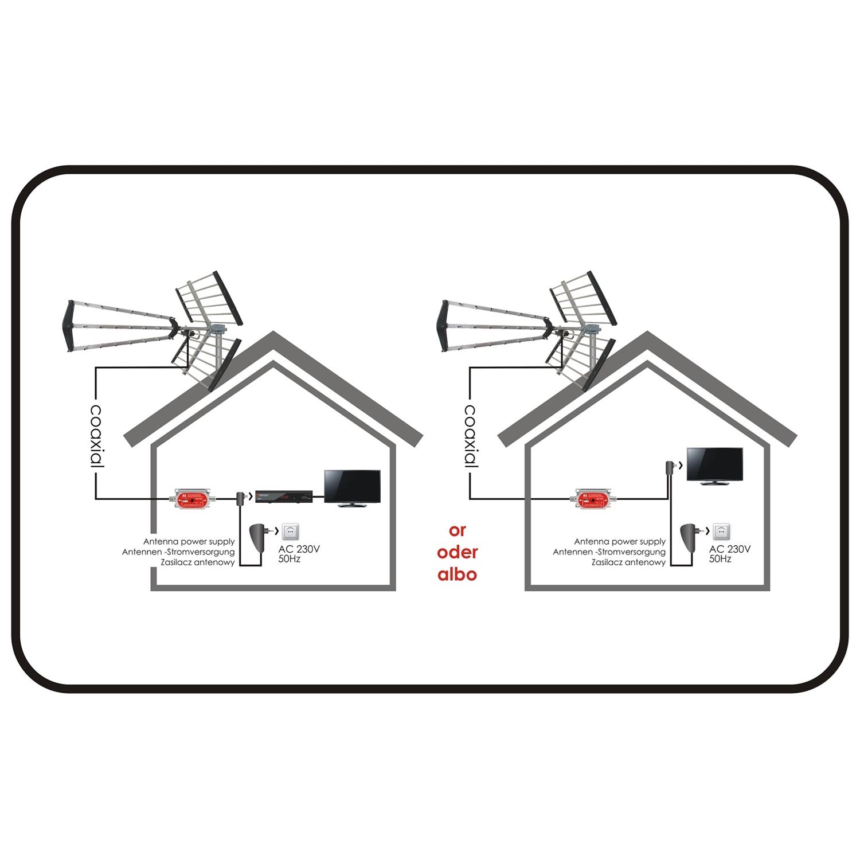 Amplificatore Antenna Dab Uhf Dvb T Vhf Con Regolazione