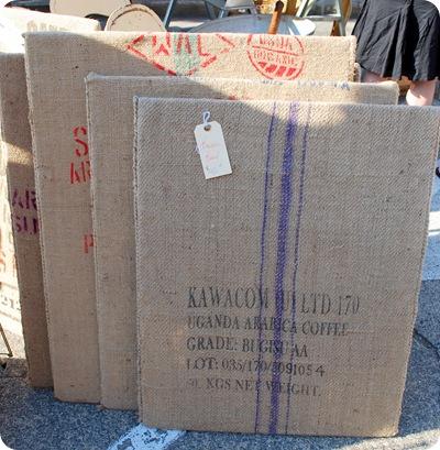 coffee sack bulletin board