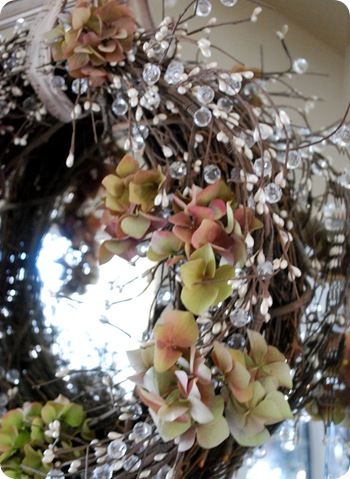 hydrangea in grapevine wreath