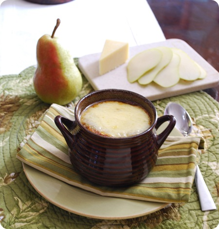 soup and pear