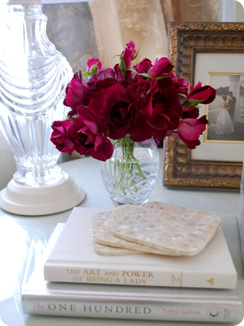 purple roses and lamp